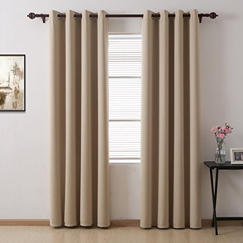 Deconovo Grommet Top Blackout Curtain Blackout Drapes Thermal Insulated Room Darkening Panels for Patio Doors 52 x 84 Inch Beige 1 Pair (Darkening Patio Room Shades Doors For)