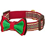 "Blueberry Pet 8 Patterns Christmas Nordic-inspired Snowflakes Dog Collar with Bow Tie, Medium, Neck 14.5""-20"", Adjustable Collars for Dogs"