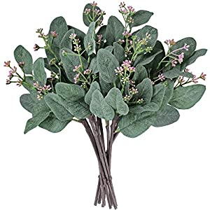 "Supla 10 Pcs Artificial Eucalyptus Leaves Stems Bulk Artificial Seeded Eucalyptus Leaves Plant in Grey Green 11"" Tall Artificial Greenery Holiday Greens Wedding Greenery 19"