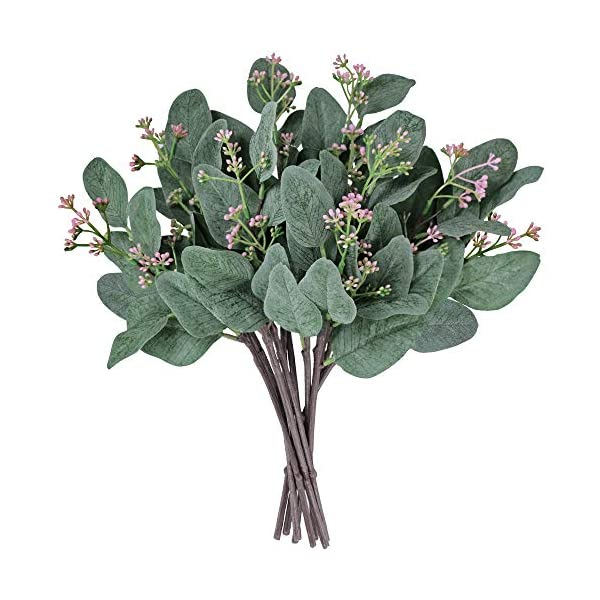 """Supla 10 Pcs Artificial Eucalyptus Leaves Stems Bulk Artificial Seeded Eucalyptus Leaves Plant in Grey Green 11"""" Tall Artificial Greenery Holiday Greens Wedding Greenery"""