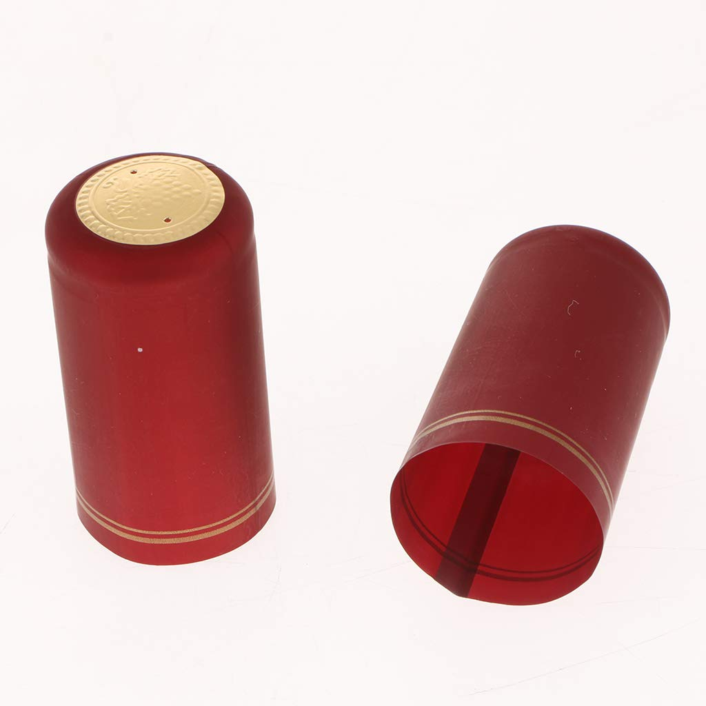 Shrink Bottle Sleeves for Professional and Home use 30mm -Black Flameer Shrink Capsules with Tear tab Satin Burgundy Finish 100 Count Suitable for Wine Bottles Gold Top Strips