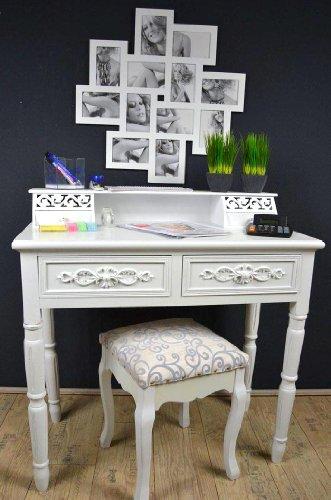 Sekretär Schreibtisch mit Hocker Landhaus Antik Weiß Shabby Chic AD28
