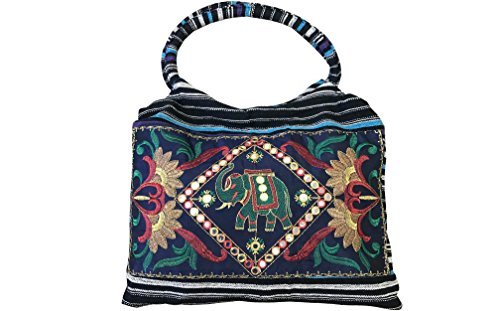 Fashion Womens HandBags Shoulder and Tote Ethnic Blue CLUB Summer Ladies Black CUBANA Embroidered Handmade 5Sw5CvXqx