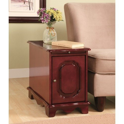 Coaster 900360 Side Table/Cabinet with Pullout Tray, Cherry by Coaster Home Furnishings