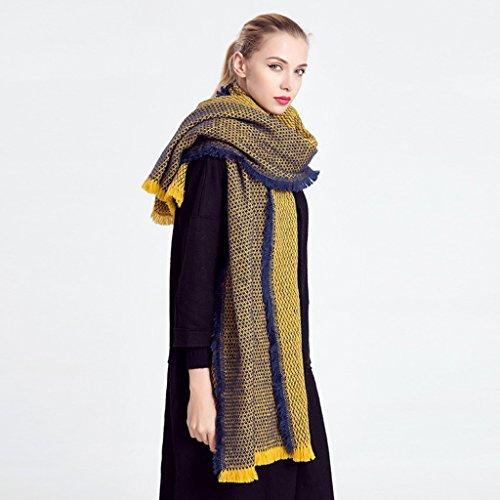 Mesdames automne et en hiver style frangée Double - Sided Châle Écharpe double - Utiliser Écharpe sauvage ( couleur : Le jaune )