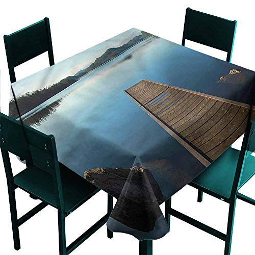 DONEECKL Oil-Proof and Leak-Proof Tablecloth Landscape Calm Canadian Lake Rocks Indoor Outdoor Camping Picnic W63 xL63