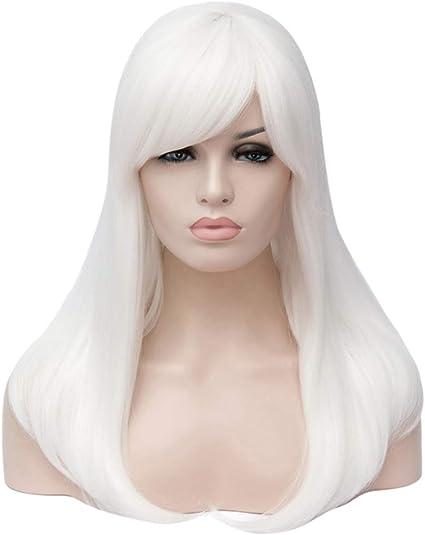 HongHu Womens Fashion Side Bangs Peluca larga y recta Anime Cosplay Pelucas de fiesta de pelo completo o uso diario Peluca blanca: Amazon.es: Belleza