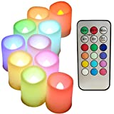 Multi Color Changing Flameless Candles with Timer and Remote - 100+H Long Battery Life of LED Votive Candles, Set of 10 Ivory Tea Light for Wedding Decor and Birthday Gifts.