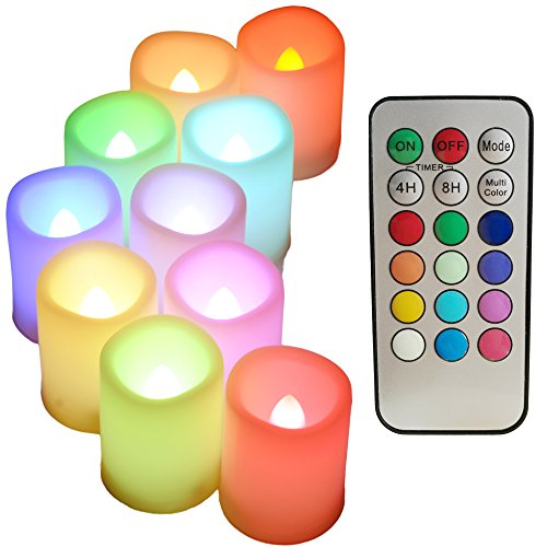 Multi Color Changing LED Flameless Votive Candles with Timer and Remote,100+H Long Battery Life,Realistic Melt Edge Pillar tealight for Wedding Decor and Gifts(10 PCS of Ivory) by Sweetime