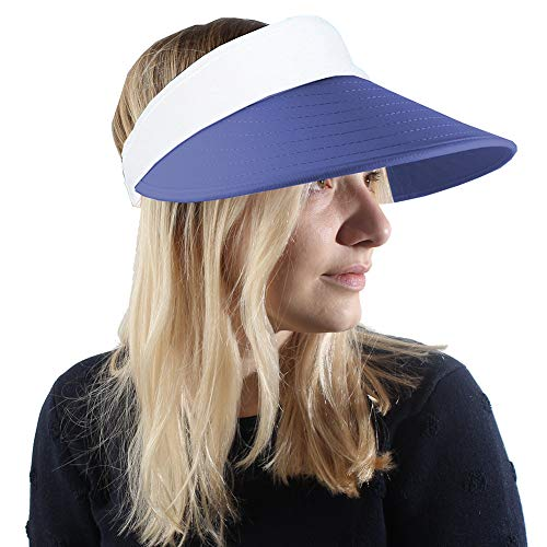 Happy Face Cap (Sun Visor Hats Women Large Brim Summer UV Protection Beach Cap Blue)