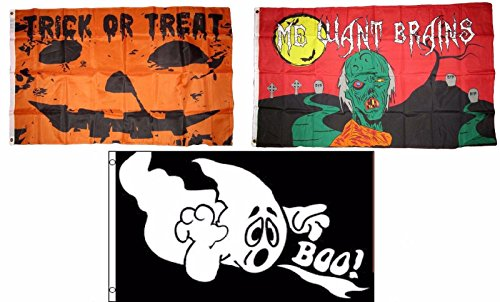 ALBATROS 3 ft x 5 ft Happy Halloween 3 Pack Flag Set #139 Combo Banner Grommets for Home and Parades, Official Party, All Weather Indoors Outdoors