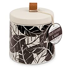 Paddywax Botany Collection Ceramic Soy Wax Candle, Black Coconut & Amber