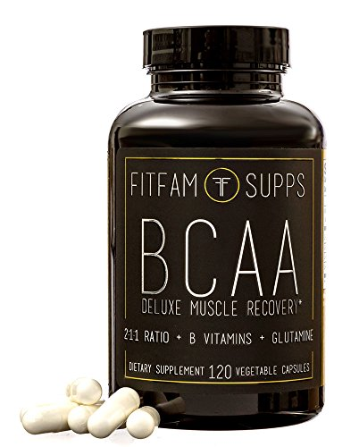 FitFam BCAA Capsules (120 Capsules) Branched Chain Amino Acid Supplement Reduce Muscle Soreness & Recovey Time Deluxe Muscle Recovery 2:1:1 Ratio + B Vitamins + Glutamine