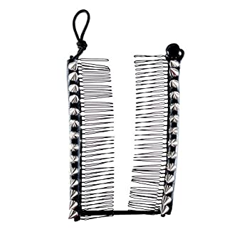 HairZing Spike S-T-R-E-T-C-H Banana Comb, Hair Accessory Perfect for Easy Ponytail, UpDo or Faux Hawk, Silver, Medium