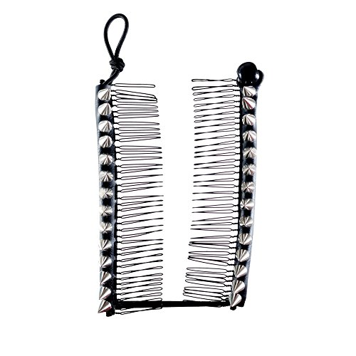 HairZing Spike S-T-R-E-T-C-H Banana Comb, Hair Accessory Perfect for Easy Ponytails, UpDos and Twists, Silver, Large Spike Accessory