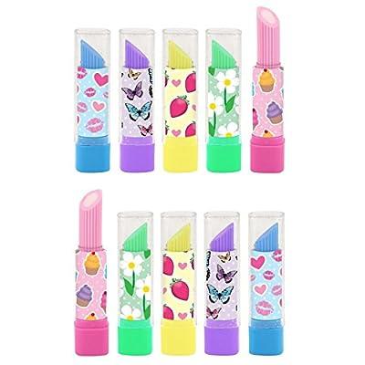 10 X Rouge à lèvres GOMME / caoutchoucs FILLES FÊTE accessoires - Assortiment de couleurs