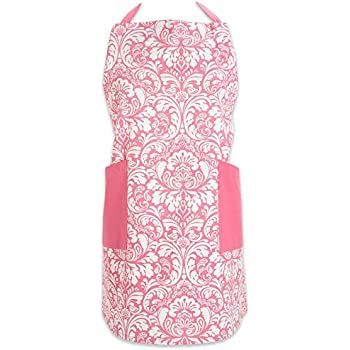 "DII Cotton Adjusatble Women Kitchen Apron with Pockets and Extra Long Ties, 37.5 x 29"", Cute Apron for Cooking, Baking, Gardening, Crafting, BBQ-Damask Pink"