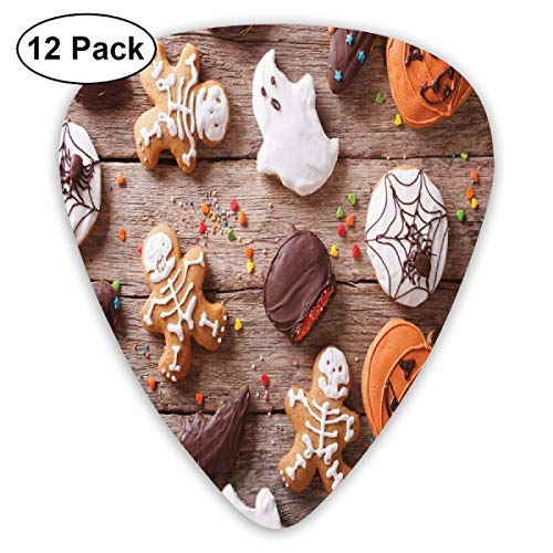 Guitar Picks 12-Pack,Sweets Covered In Chocolate Dipped In Frosting Halloween Theme Ghosts And Pumpkins