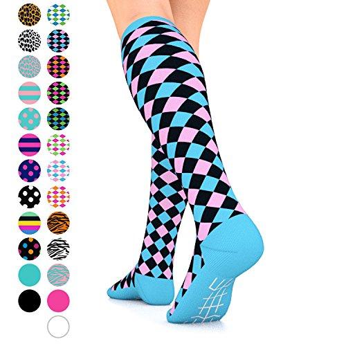 Go2Socks GO2 Compression Socks for Women Men Nurses Runners 15-20 mmHg (Medium) - Medical Stocking Maternity Travel - Best Performance Recovery Circulation Stamina (Harl Black Pink Blue, Medium)