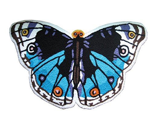 Blue Butterfly Shaped Bedroom Anti-Slip Area Rug Floor Mats,Art Carpet for Home - Rug Shaped Butterfly