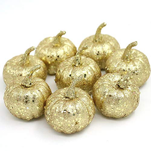 Nice purchase Realistic Fake Artificial Small Pumpkins for Decor Halloween Fall Harvest Thanksgiving Party DIY Craft (Gold -