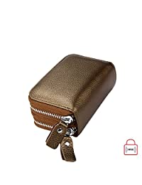 MuLier Top Grain Genuine Leather Double Zipper Around RFID Blocking Anti-theft Women Card Holder Purse