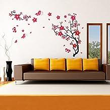 Red Plum Blossom Wall Sticker Removable Art DIY Home Decor//Etiqueta de la pared flor del ciruelo rojo del arte de la decoración del hogar