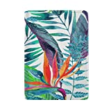 Floral Pattern Tropical Leaves Seamless Leather Passport Holder Cover Case Protector for Men Women Travel with Slots