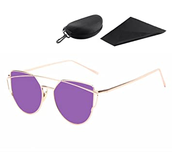 e7e61e2ea7 Gafas de Sol Cateye con viajes portátiles Zipper funda de los vidrios para  mujeres, Pawaca