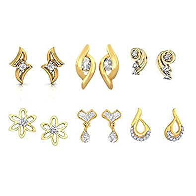 100cd5a9c929 E Golden Leaf Gold-Plated American Diamond Stud for Women - Pack of 6   Kaizer Jewelry  Amazon.in  Jewellery