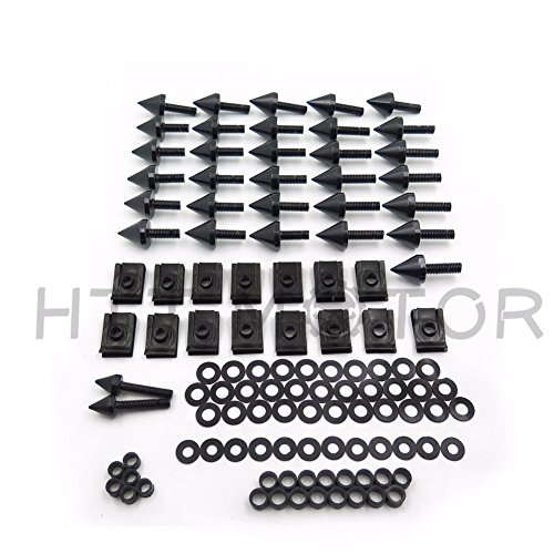 HTTMT MT215-011- Black Motorcycle Spike Fairing Bolts Kit Compatible with 2002 2003 Yamaha YZF R1 YZF-R1 ()