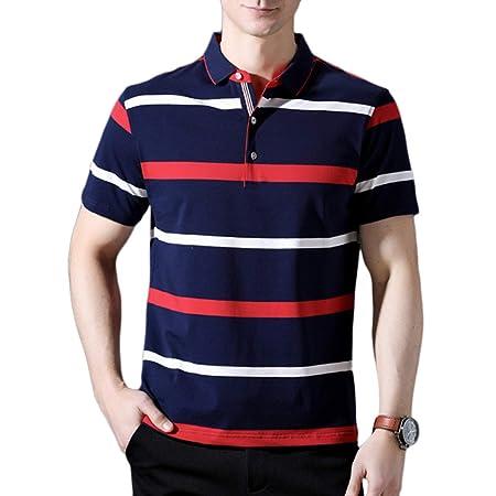 NDHSH Camisetas Polo para Hombre Camiseta a Rayas de algodón Golf ...
