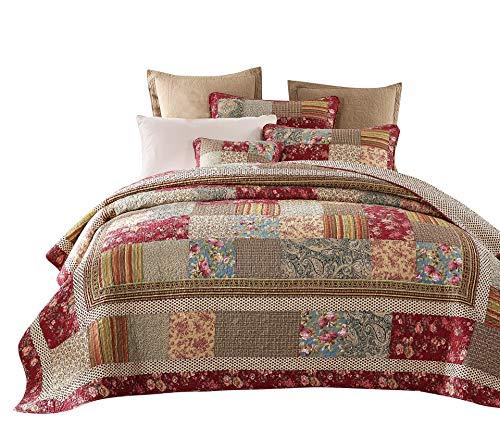- Tache Cotton Charming Fairytale Tea Party Floral Patchwork Reversible Quilt Bedspread Set, Cal King