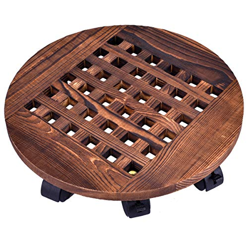 """GeBot 14"""" Inch Rolling Wooden Planter Caddy Potted Plant Stand with Wheels Round Flower Pot Rack Indoor Outdoor Planter Trolley with 360° Rotating Casters Rolling Tray Coaster Garden Pot Dolly"""