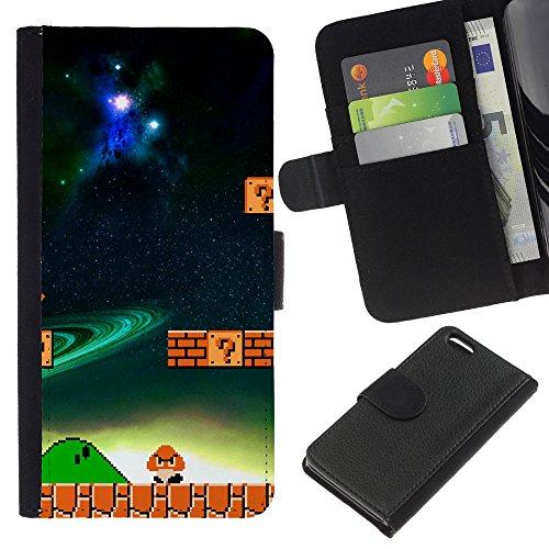 Funny Phone Case // Cuir Portefeuille Housse de protection Étui Leather Wallet Protective Case pour Apple Iphone 5C /Champignon de jeu/