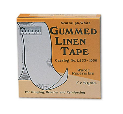 Lineco Acid-Free Gummed Linen Tape 1 in. x 50 yd. roll White Linen Tape