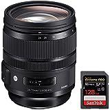 Sigma 24-70mm F2.8 DG OS HSM Art Lens for Nikon Mount (576-955) + Sandisk Extreme PRO SDXC 128GB UHS-1 Memory Card