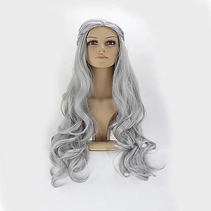 MZP Mujer Pelucas sintéticas Largo Ondulado Gris Peluca natural Peluca de Halloween Peluca de carnaval Las