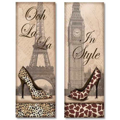 WallsThatSpeak 2 Travel in Style Animal Print High Heel Pumps Shoes Fashion Classy Art Prints Paris London, 6 by 18-Inch, Beige