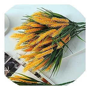 Sevem-D New 3 Pieces/Lots Flowers Yellow Wheat Grain Flower Artificial Restaurant Table Placed Accessories Plants 74