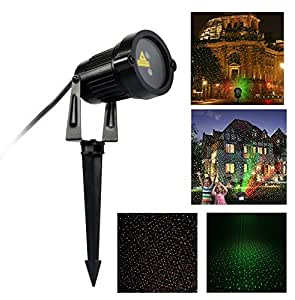 Garden Laser Lights, Sumger RG Waterproof Star Spotlight Projection Lamp,Landscape Star Projector, Outdoor and Indoor Stage Laser Lights for Christmas,Holiday, Party, Wedding ,Halloween,DJ, Disco