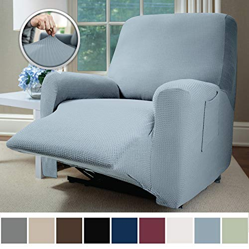 SOFA SHIELD Original Fitted 1 Piece Recliner Slipcover, Soft Stretch Material, Seat Width Up to 28 Inch Furniture Protector, Washable Covers for Recliners, Spandex Fit Slip Cover, Recliner, Denim Blue