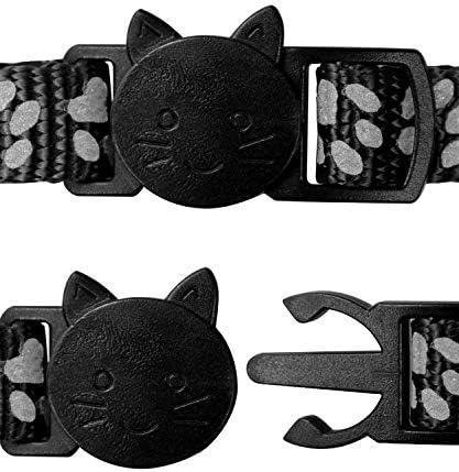 Taglory Collier Chat Anti Étranglement, 2 pcs Réglable Réfléchissant Collier pour Chat Chaton Chiot avec Clochette et Boucle de Sécurité, 19-32cm Noir