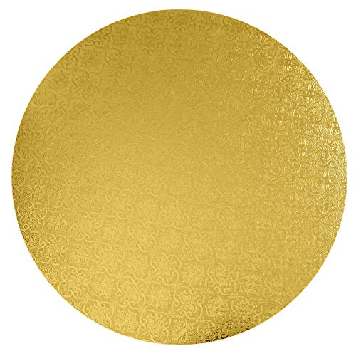 O'Creme Gold Wraparound Cake Pastry Round Drum Board 1/4 Inch Thick, 16 Inch Diameter - Pack of 10