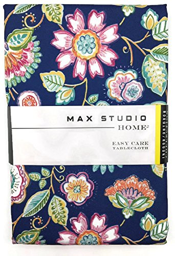 Max Studio Home 60 x 84 Navy and Floral Easy Care Indoor /