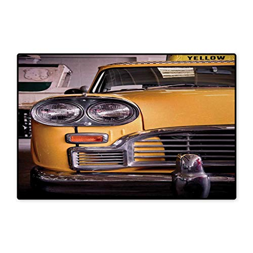 New York,Door Mats,Picture of Antique Yellow Taxi Historic Element of Old NYC Nostalgia Vintage Cab,Customize Bath Mat with Non Slip Backing,Yellow Grey 20