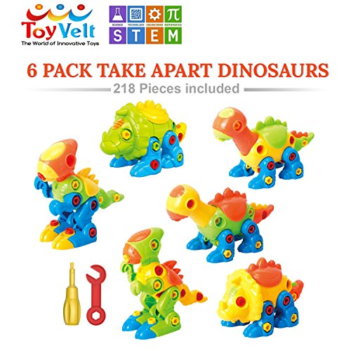 Dinosaur Toys Take Apart Toys With Tools (Pack of 6 Dinosaurs - 218 pieces) - Construction Engineering STEM Learning Toy Building Play Set - Best Toy for Boys & Girls Age 3 – 12 years old. colors very (Walmart Boy Toys)