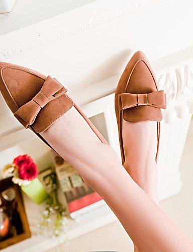 us6 Toe rojo uk4 talón punta Flats PDX black plano de negro piel cn36 mujer eu36 sintética Beige de Casual marrón zapatos gTqxgA1