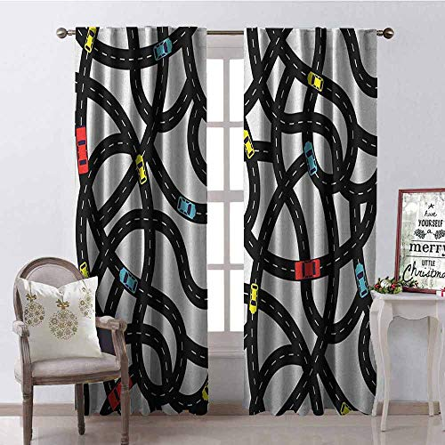 Gloria Johnson Cars 99% Blackout Curtains Intertwining Roads with Cars on Them Complicated Design with Urban Life Theme for Bedroom- Kindergarten- Living Room W100 x L84 Inch Black Yellow Blue