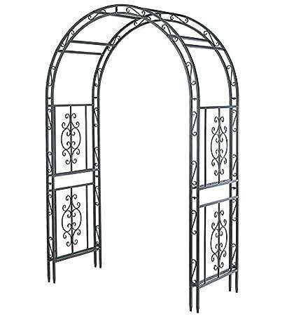 Montebello Decorative Garden Arbor Trellis, Scroll Design, Tubular Iron  Structure With 7 Inch